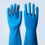 Luva de látex nítrico azul